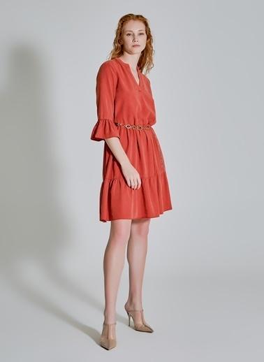People By Fabrika Volan Detaylı Tencel Elbise Kiremit